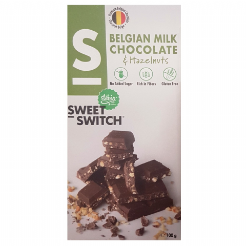 Milk & Hazelnuts Belgian Chocolate Bar No Added Sugar Gluten Free Stevia SWEET SWITCH 100g